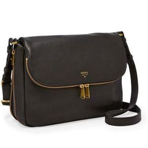 •FOSSIL• Preston Flap Leather Crossbody Bag.